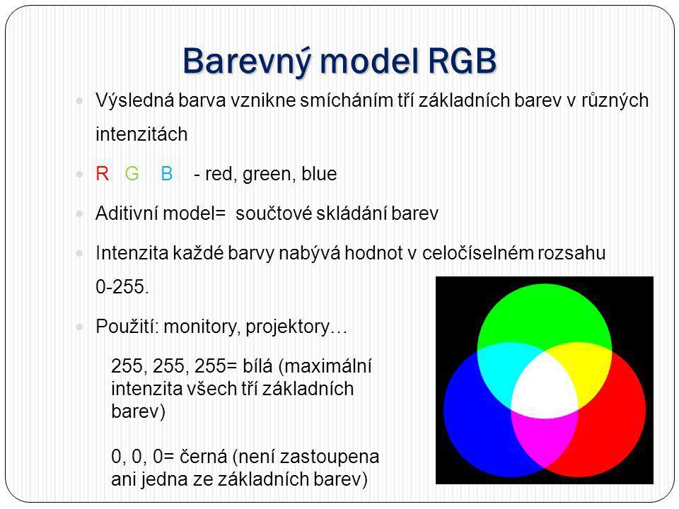 Barevný model RGB Výsledná barva vznikne smícháním tří základních barev v různých intenzitách R G B - red, green, blue Aditivní model= součtové skládání barev Intenzita každé barvy nabývá hodnot v celočíselném rozsahu 0-255.