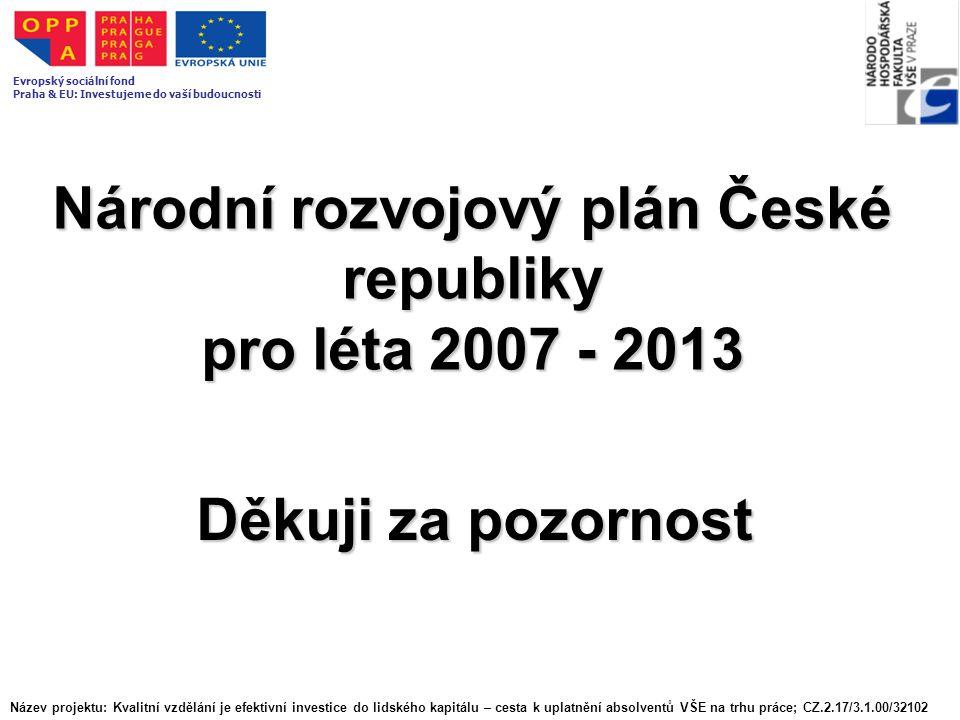 Národní rozvojový plán České republiky pro léta 2007 - 2013 Děkuji za pozornost Název projektu: Kvalitní vzdělání je efektivní investice do lidského kapitálu – cesta k uplatnění absolventů VŠE na trhu práce; CZ.2.17/3.1.00/32102 Evropský sociální fond Praha & EU: Investujeme do vaší budoucnosti
