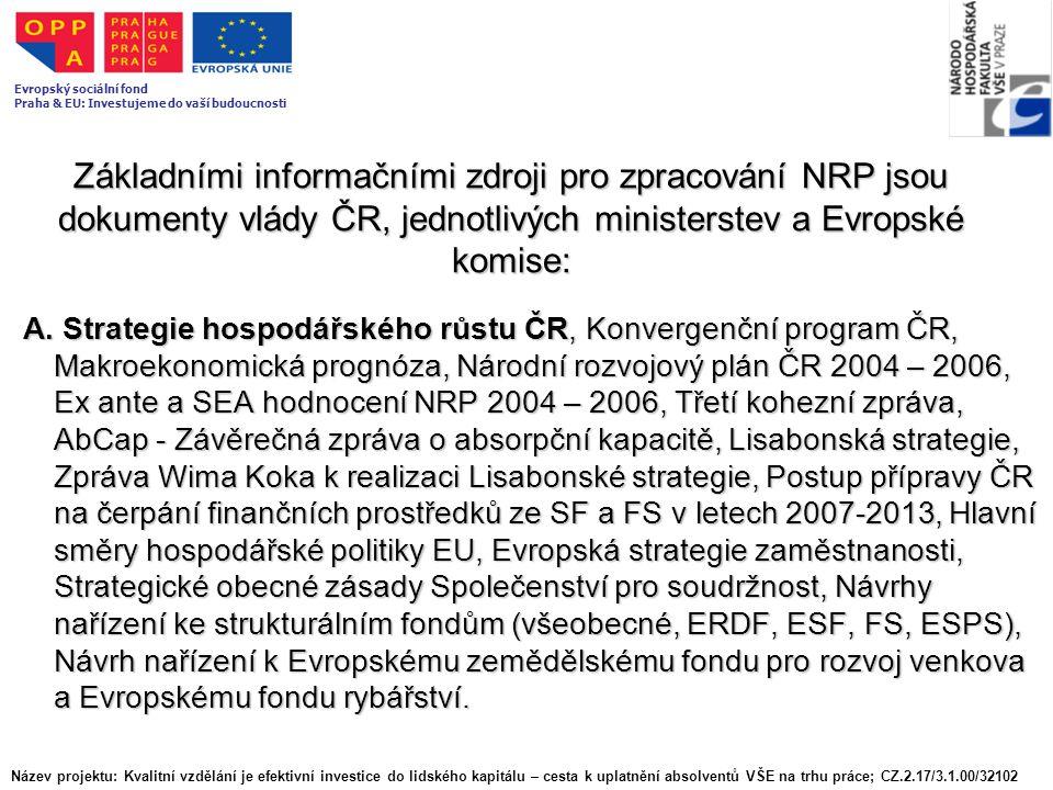 Základními informačními zdroji pro zpracování NRP jsou dokumenty vlády ČR, jednotlivých ministerstev a Evropské komise: A. Strategie hospodářského růs