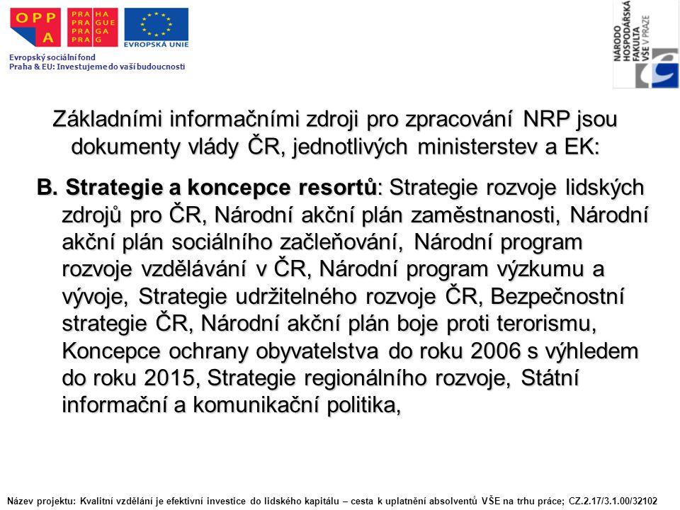 Základními informačními zdroji pro zpracování NRP jsou dokumenty vlády ČR, jednotlivých ministerstev a EK: B. Strategie a koncepce resortů: Strategie