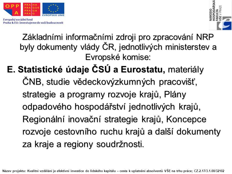 Základními informačními zdroji pro zpracování NRP byly dokumenty vlády ČR, jednotlivých ministerstev a Evropské komise: E. Statistické údaje ČSÚ a Eur