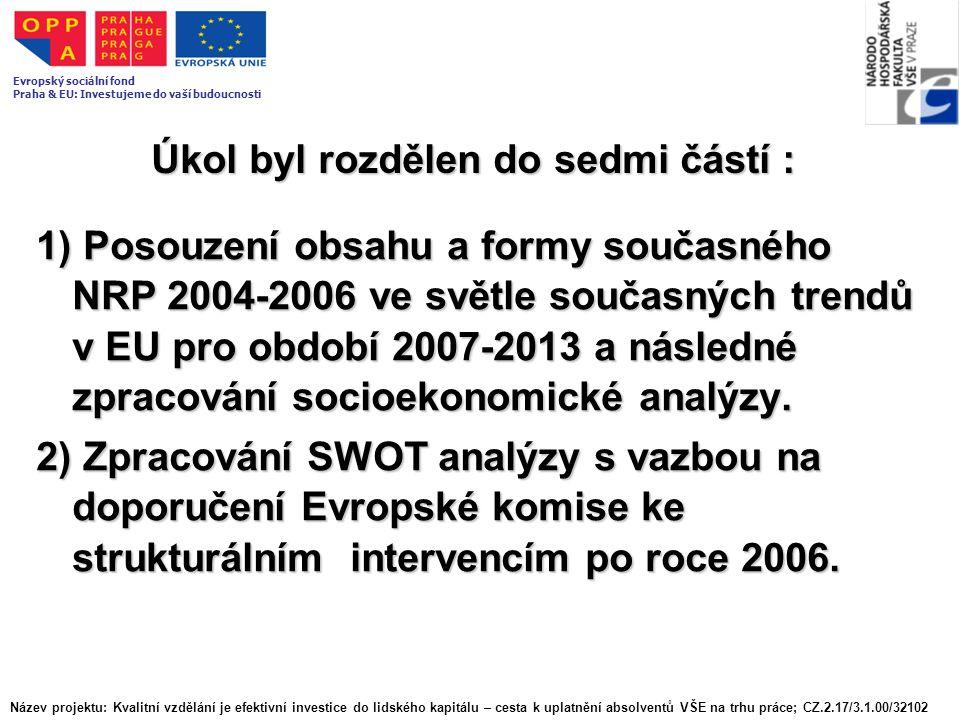 Úkol byl rozdělen do sedmi částí : 1) Posouzení obsahu a formy současného NRP 2004-2006 ve světle současných trendů v EU pro období 2007-2013 a následné zpracování socioekonomické analýzy.
