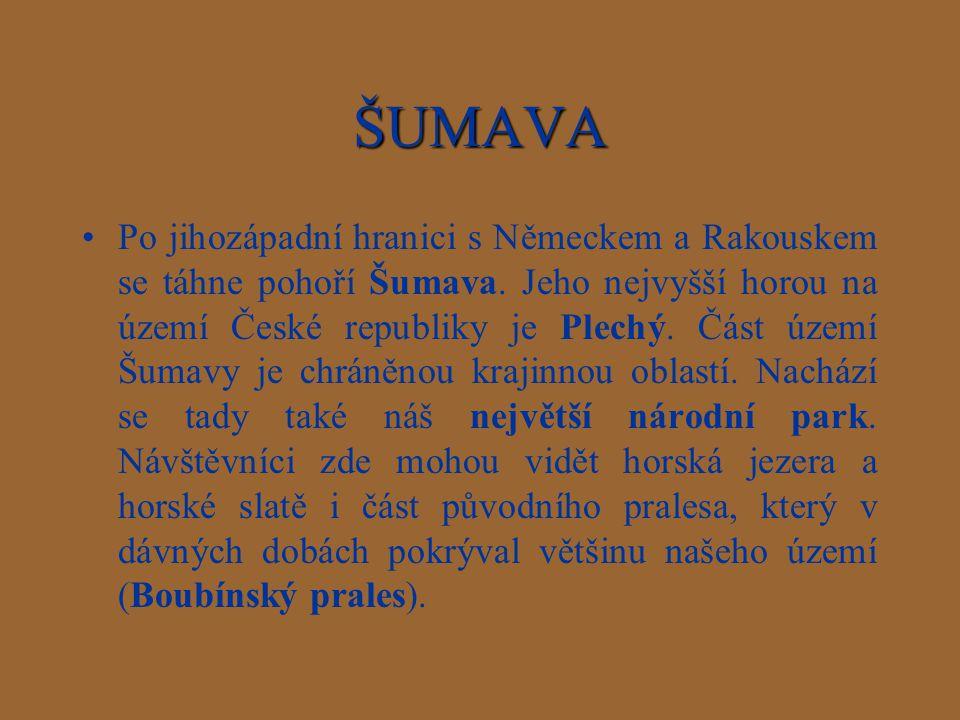 ŠUMAVA Po jihozápadní hranici s Německem a Rakouskem se táhne pohoří Šumava. Jeho nejvyšší horou na území České republiky je Plechý. Část území Šumavy