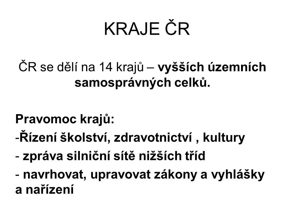 KRAJE ČR ČR se dělí na 14 krajů – vyšších územních samosprávných celků.