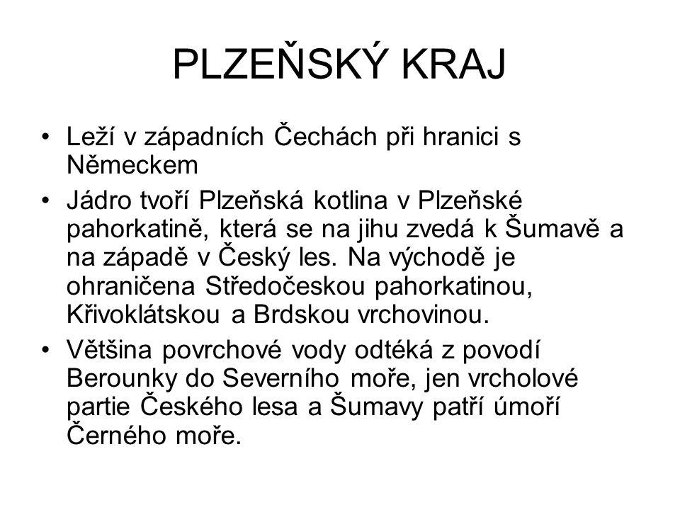PLZEŇSKÝ KRAJ Leží v západních Čechách při hranici s Německem Jádro tvoří Plzeňská kotlina v Plzeňské pahorkatině, která se na jihu zvedá k Šumavě a na západě v Český les.