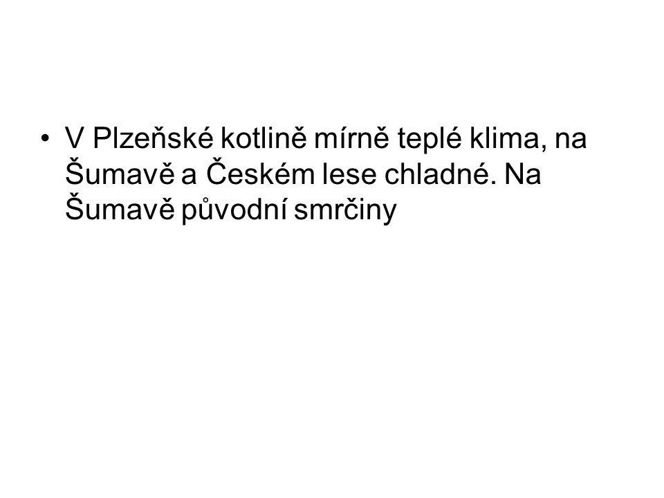 V Plzeňské kotlině mírně teplé klima, na Šumavě a Českém lese chladné. Na Šumavě původní smrčiny