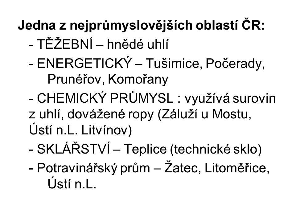Jedna z nejprůmyslovějších oblastí ČR: - TĚŽEBNÍ – hnědé uhlí - ENERGETICKÝ – Tušimice, Počerady, Prunéřov, Komořany - CHEMICKÝ PRŮMYSL : využívá surovin z uhlí, dovážené ropy (Záluží u Mostu, Ústí n.L.