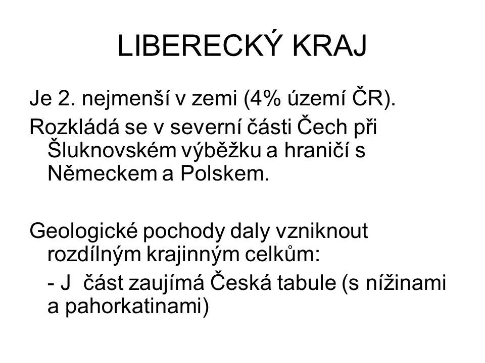 LIBERECKÝ KRAJ Je 2.nejmenší v zemi (4% území ČR).