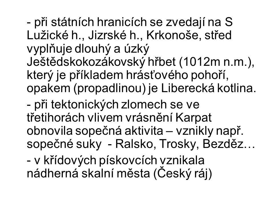 - při státních hranicích se zvedají na S Lužické h., Jizrské h., Krkonoše, střed vyplňuje dlouhý a úzký Ještědskokozákovský hřbet (1012m n.m.), který je příkladem hrásťového pohoří, opakem (propadlinou) je Liberecká kotlina.