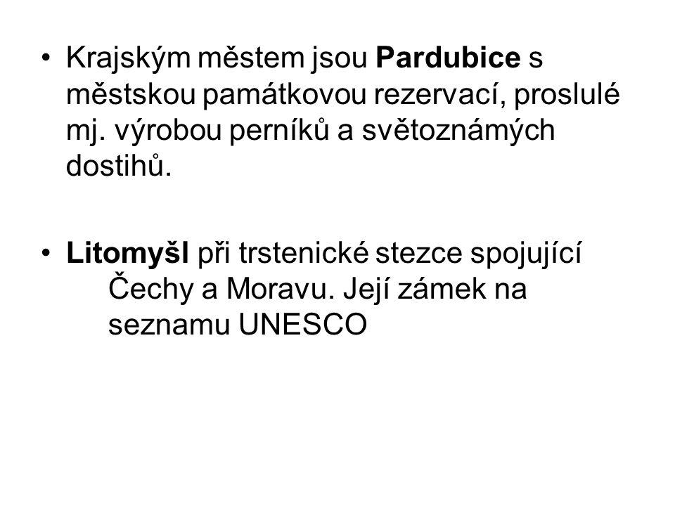Krajským městem jsou Pardubice s městskou památkovou rezervací, proslulé mj.