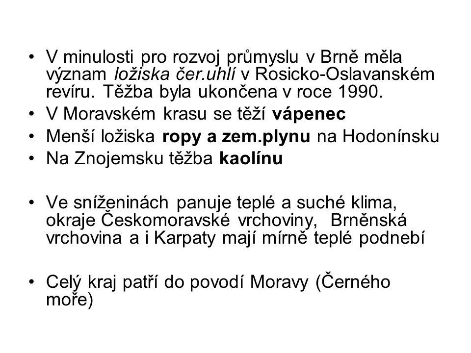 V minulosti pro rozvoj průmyslu v Brně měla význam ložiska čer.uhlí v Rosicko-Oslavanském revíru.
