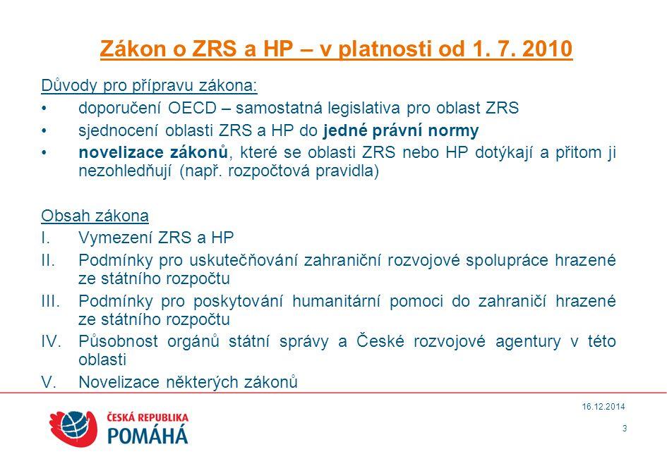 3 16.12.2014 Zákon o ZRS a HP – v platnosti od 1. 7.