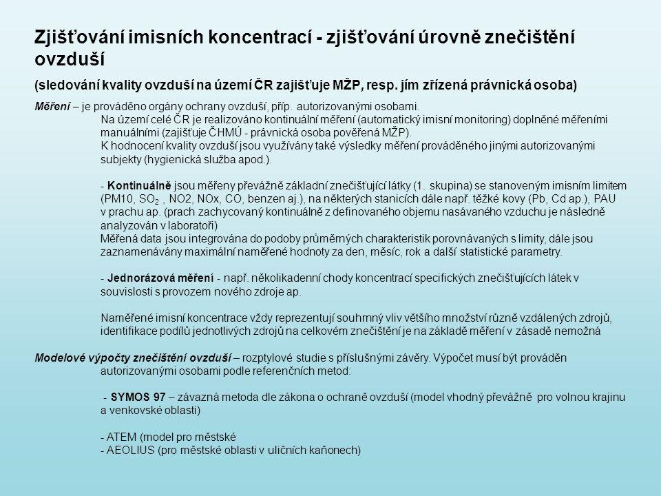 Zjišťování imisních koncentrací - zjišťování úrovně znečištění ovzduší (sledování kvality ovzduší na území ČR zajišťuje MŽP, resp. jím zřízená právnic