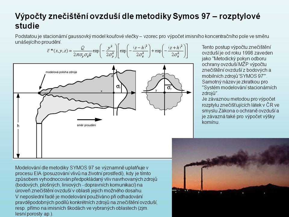 Výpočty znečištění ovzduší dle metodiky Symos 97 – rozptylové studie Podstatou je stacionární gaussovký model kouřové vlečky – vzorec pro výpočet imis