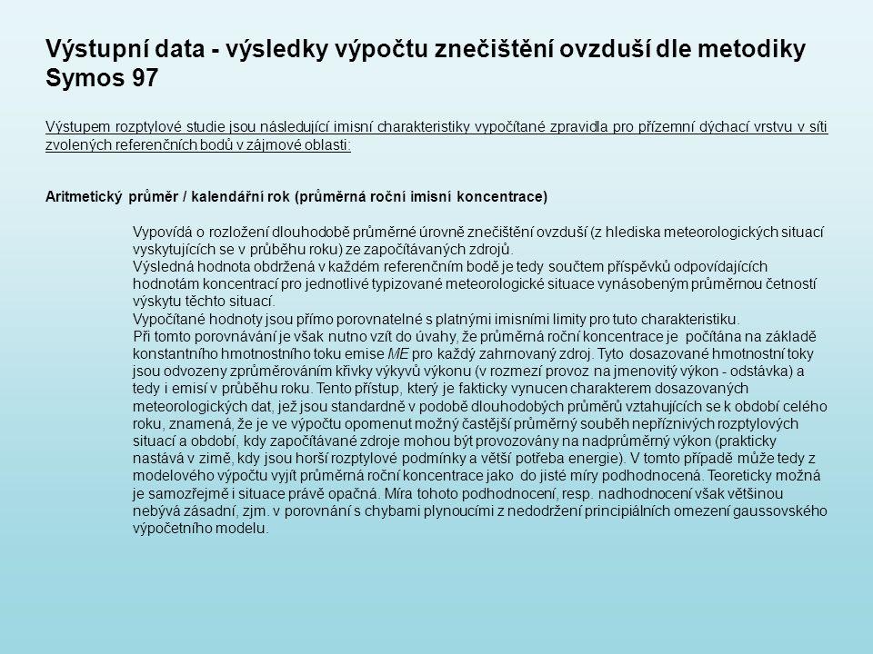 Výstupní data - výsledky výpočtu znečištění ovzduší dle metodiky Symos 97 Výstupem rozptylové studie jsou následující imisní charakteristiky vypočítan