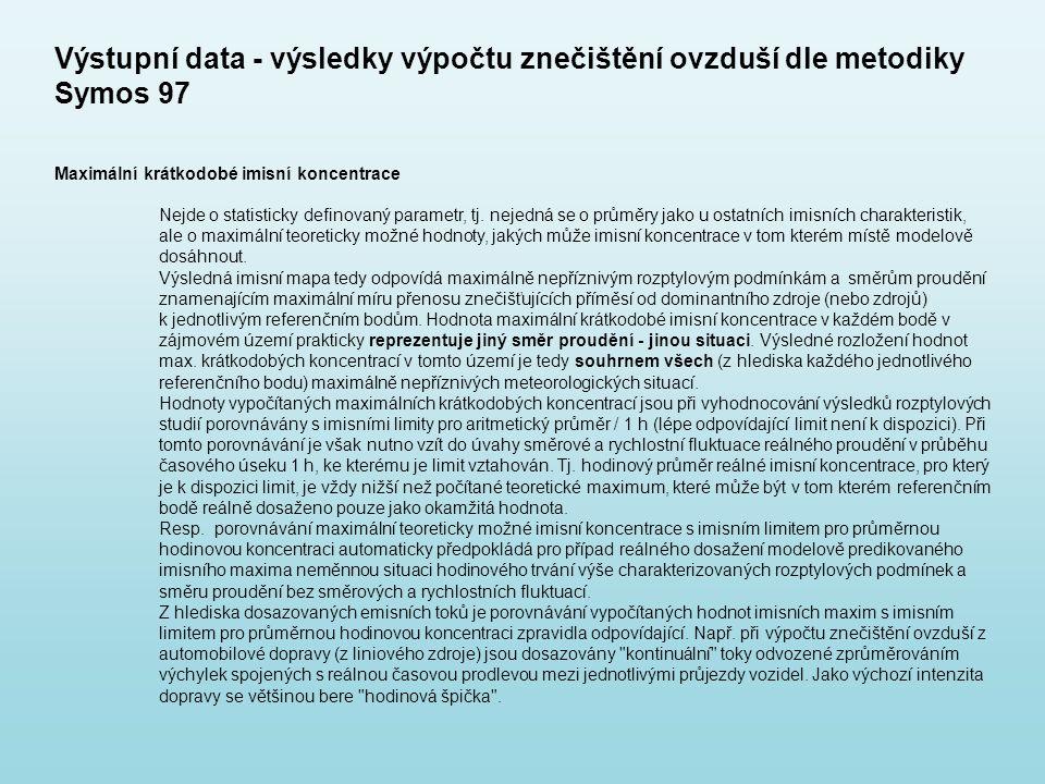 Výstupní data - výsledky výpočtu znečištění ovzduší dle metodiky Symos 97 Maximální krátkodobé imisní koncentrace Nejde o statisticky definovaný param
