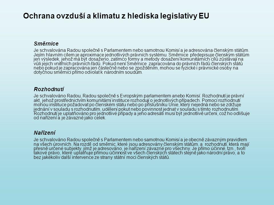 Ochrana ovzduší a klimatu z hlediska legislativy EU Směrnice Je schvalována Radou společně s Parlamentem nebo samotnou Komisí a je adresována členským