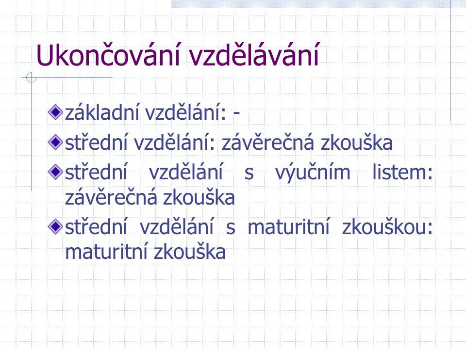 Ukončování vzdělávání základní vzdělání: - střední vzdělání: závěrečná zkouška střední vzdělání s výučním listem: závěrečná zkouška střední vzdělání s