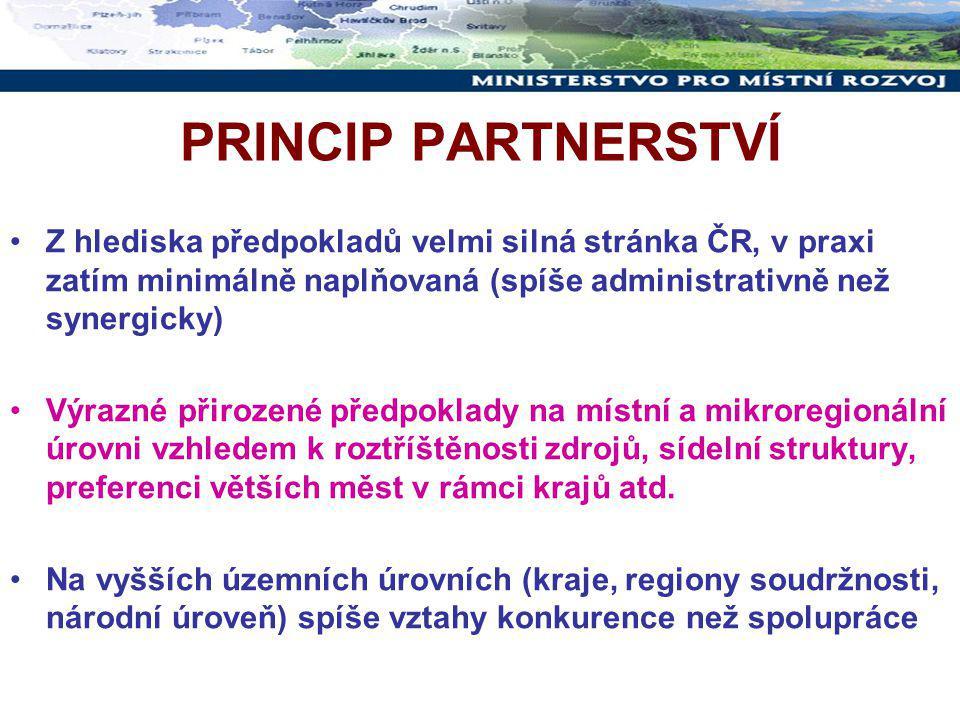 PRINCIP PARTNERSTVÍ Z hlediska předpokladů velmi silná stránka ČR, v praxi zatím minimálně naplňovaná (spíše administrativně než synergicky) Výrazné přirozené předpoklady na místní a mikroregionální úrovni vzhledem k roztříštěnosti zdrojů, sídelní struktury, preferenci větších měst v rámci krajů atd.