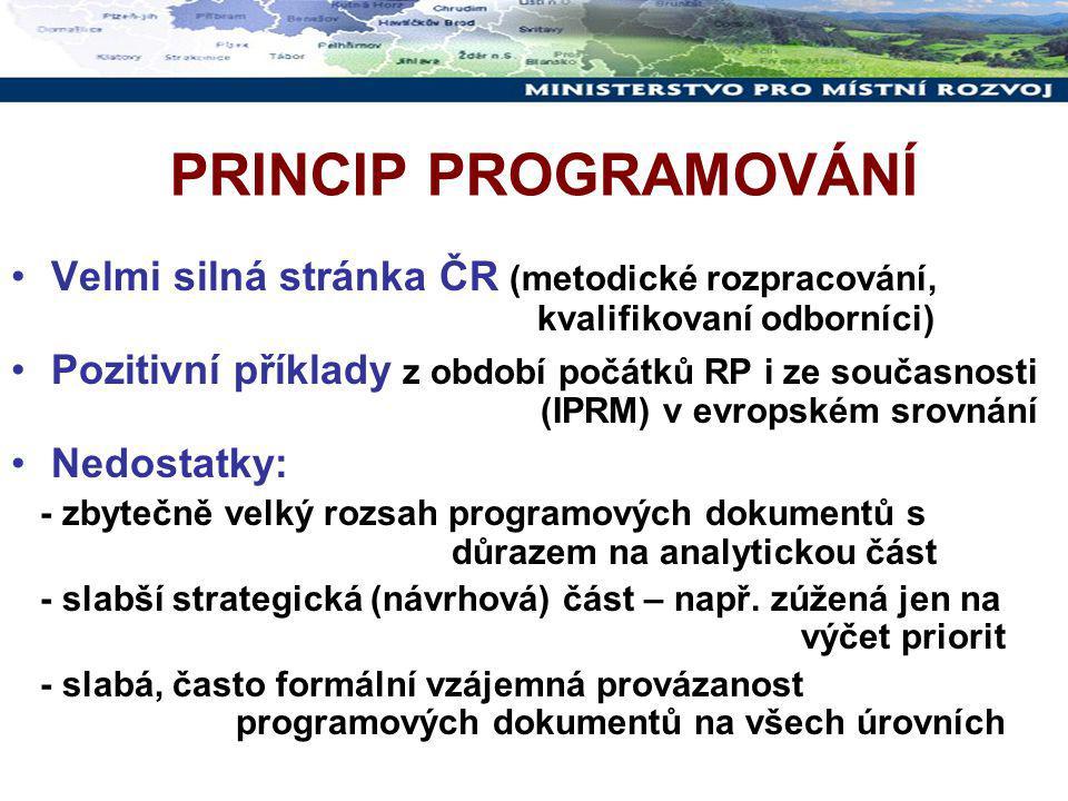 PRINCIP PROGRAMOVÁNÍ Velmi silná stránka ČR (metodické rozpracování, kvalifikovaní odborníci) Pozitivní příklady z období počátků RP i ze současnosti (IPRM) v evropském srovnání Nedostatky: - zbytečně velký rozsah programových dokumentů s důrazem na analytickou část - slabší strategická (návrhová) část – např.