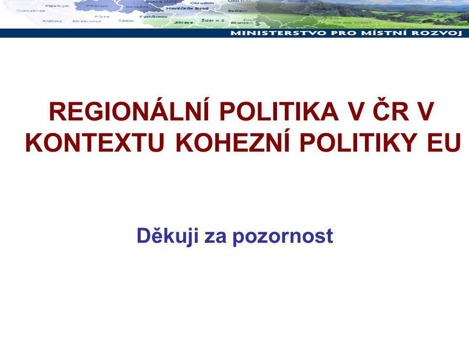 REGIONÁLNÍ POLITIKA V ČR V KONTEXTU KOHEZNÍ POLITIKY EU Děkuji za pozornost
