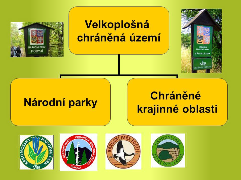 Velkoplošná chráněná území Národní parky Chráněné krajinné oblasti