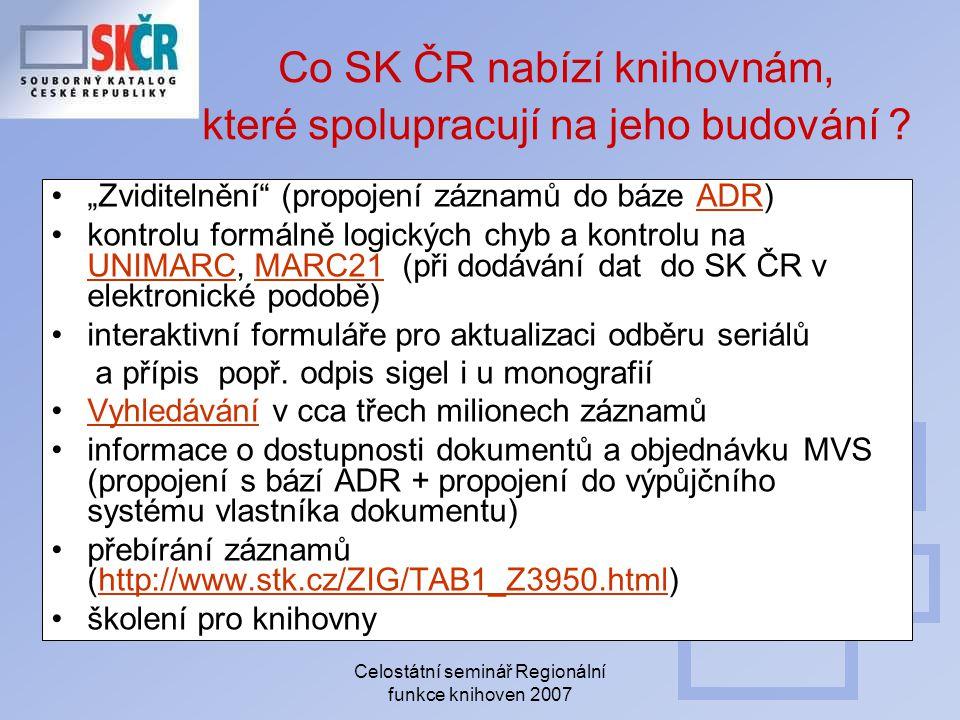 """Celostátní seminář Regionální funkce knihoven 2007 Co SK ČR nabízí knihovnám, které spolupracují na jeho budování ? """"Zviditelnění"""" (propojení záznamů"""