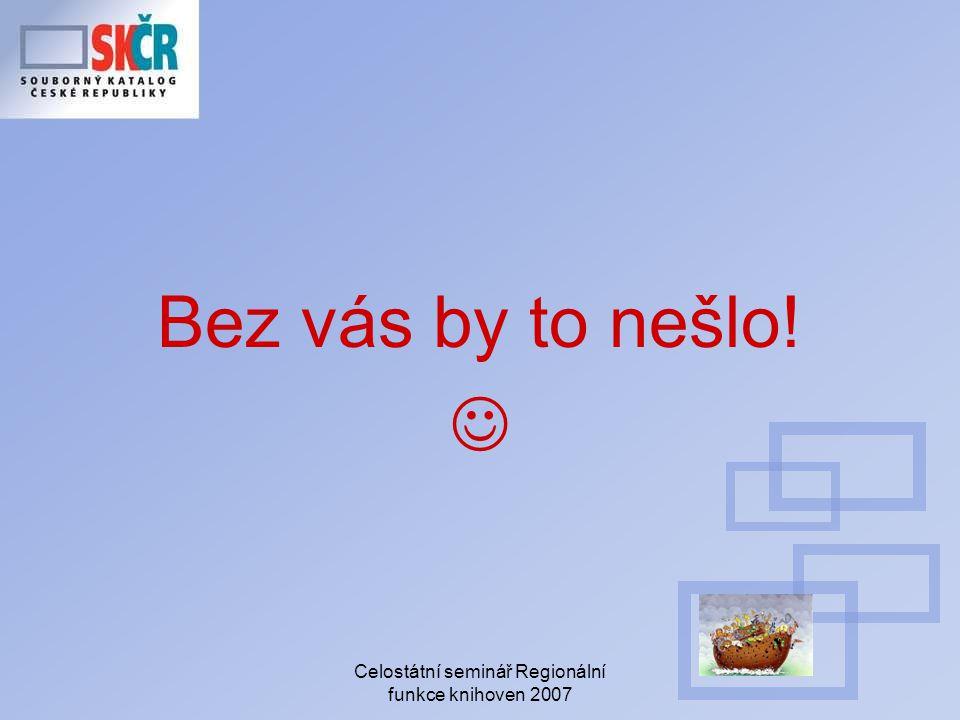 Celostátní seminář Regionální funkce knihoven 2007 Bez vás by to nešlo!