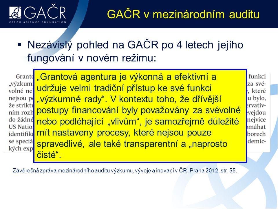 GAČR v mezinárodním auditu  Nezávislý pohled na GAČR po 4 letech jejího fungování v novém režimu: Závěrečná zpráva mezinárodního auditu výzkumu, vývo