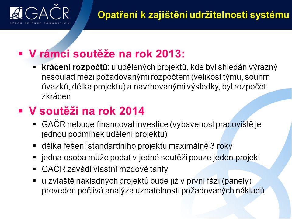 Opatření k zajištění udržitelnosti systému  V rámci soutěže na rok 2013:  krácení rozpočtů: u udělených projektů, kde byl shledán výrazný nesoulad mezi požadovanými rozpočtem (velikost týmu, souhrn úvazků, délka projektu) a navrhovanými výsledky, byl rozpočet zkrácen  V soutěži na rok 2014  GAČR nebude financovat investice (vybavenost pracoviště je jednou podmínek udělení projektu)  délka řešení standardního projektu maximálně 3 roky  jedna osoba může podat v jedné soutěži pouze jeden projekt  GAČR zavádí vlastní mzdové tarify  u zvláště nákladných projektů bude již v první fázi (panely) proveden pečlivá analýza uznatelnosti požadovaných nákladů