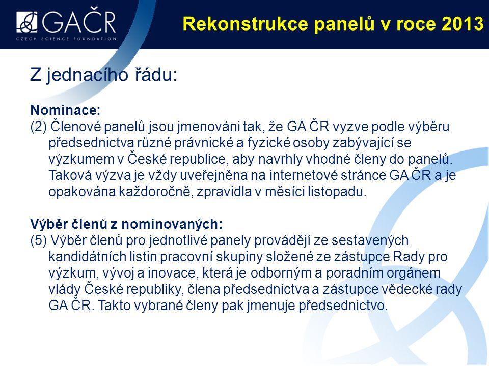 Rekonstrukce panelů v roce 2013 Z jednacího řádu: Nominace: (2) Členové panelů jsou jmenováni tak, že GA ČR vyzve podle výběru předsednictva různé právnické a fyzické osoby zabývající se výzkumem v České republice, aby navrhly vhodné členy do panelů.