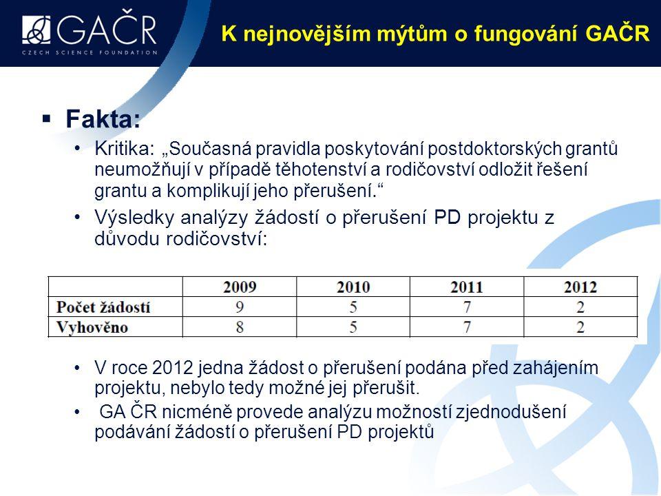 """K nejnovějším mýtům o fungování GAČR  Fakta: Kritika: """" Současná pravidla poskytování postdoktorských grantů neumožňují v případě těhotenství a rodičovství odložit řešení grantu a komplikují jeho přerušení. Výsledky analýzy žádostí o přerušení PD projektu z důvodu rodičovství: V roce 2012 jedna žádost o přerušení podána před zahájením projektu, nebylo tedy možné jej přerušit."""