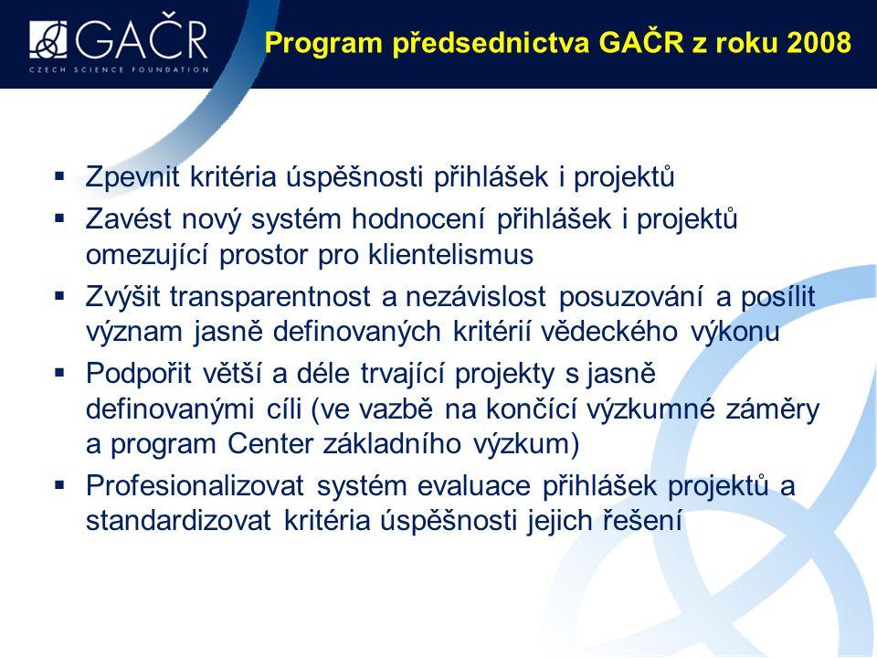 Program předsednictva GAČR z roku 2008  Zpevnit kritéria úspěšnosti přihlášek i projektů  Zavést nový systém hodnocení přihlášek i projektů omezující prostor pro klientelismus  Zvýšit transparentnost a nezávislost posuzování a posílit význam jasně definovaných kritérií vědeckého výkonu  Podpořit větší a déle trvající projekty s jasně definovanými cíli (ve vazbě na končící výzkumné záměry a program Center základního výzkum)  Profesionalizovat systém evaluace přihlášek projektů a standardizovat kritéria úspěšnosti jejich řešení