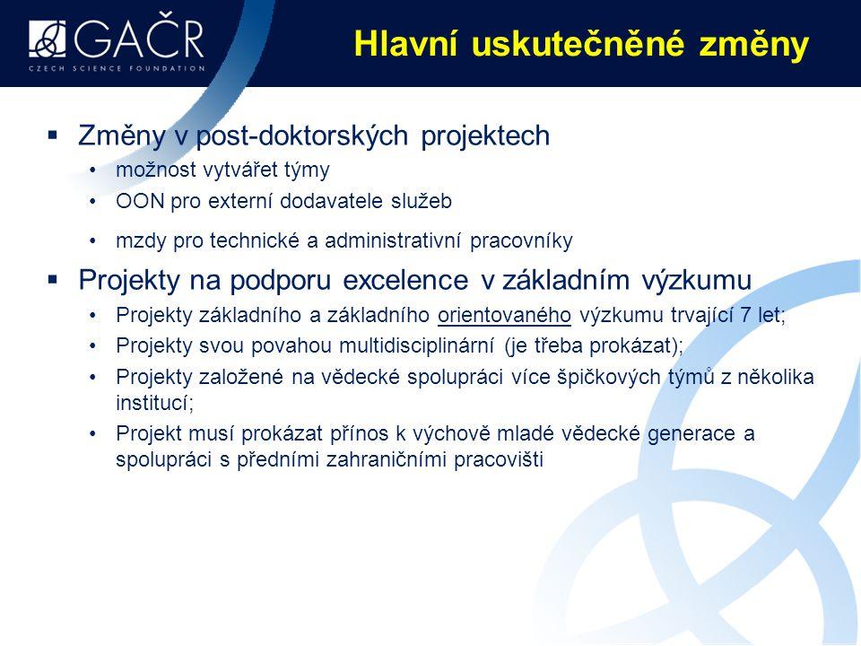 Hlavní uskutečněné změny  Změny v post-doktorských projektech možnost vytvářet týmy OON pro externí dodavatele služeb mzdy pro technické a administrativní pracovníky  Projekty na podporu excelence v základním výzkumu Projekty základního a základního orientovaného výzkumu trvající 7 let; Projekty svou povahou multidisciplinární (je třeba prokázat); Projekty založené na vědecké spolupráci více špičkových týmů z několika institucí; Projekt musí prokázat přínos k výchově mladé vědecké generace a spolupráci s předními zahraničními pracovišti