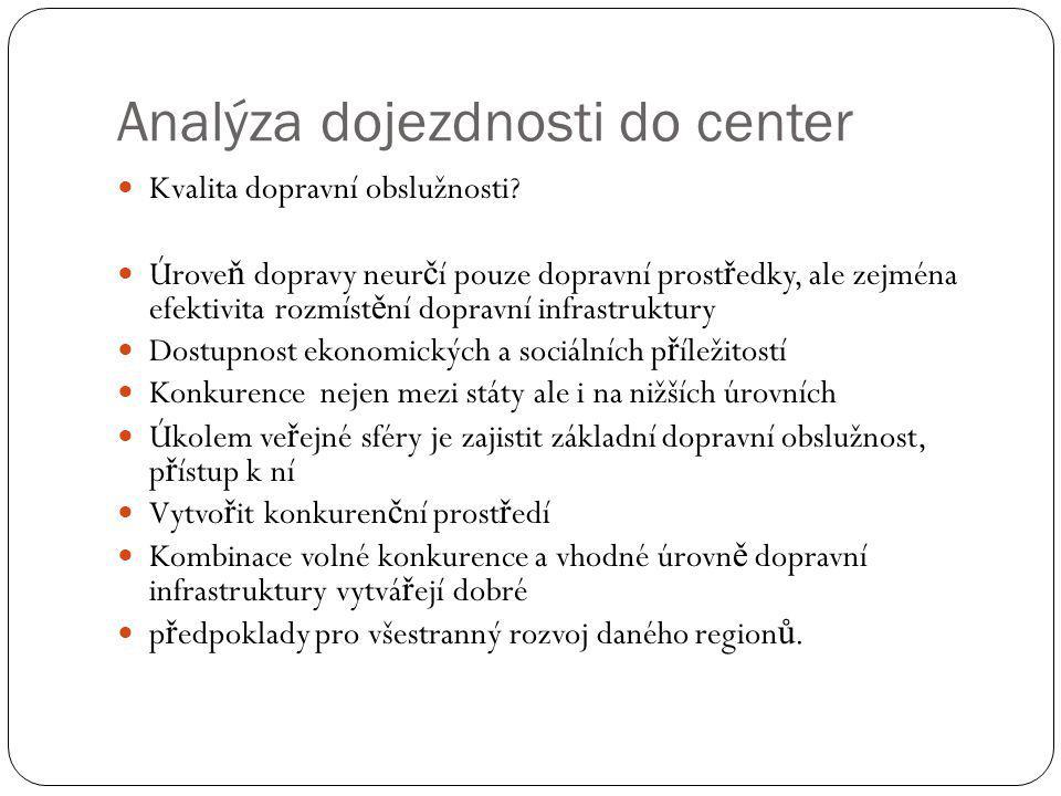 Analýza dojezdnosti do center Kvalita dopravní obslužnosti.