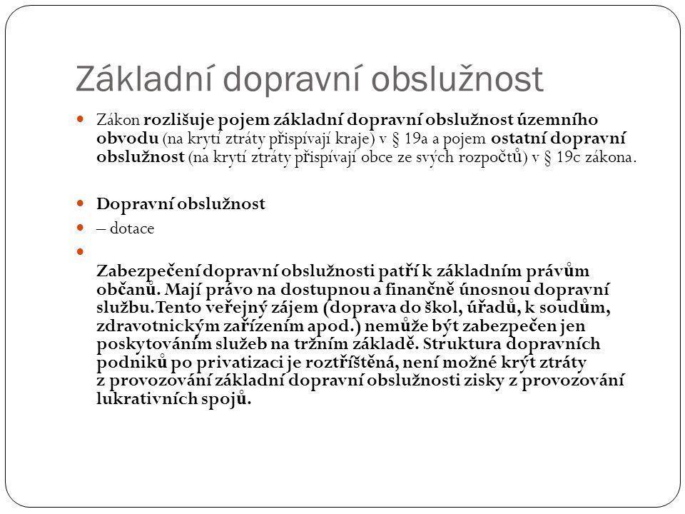 Základní dopravní obslužnost Zákon rozlišuje pojem základní dopravní obslužnost územního obvodu (na krytí ztráty p ř ispívají kraje) v § 19a a pojem o