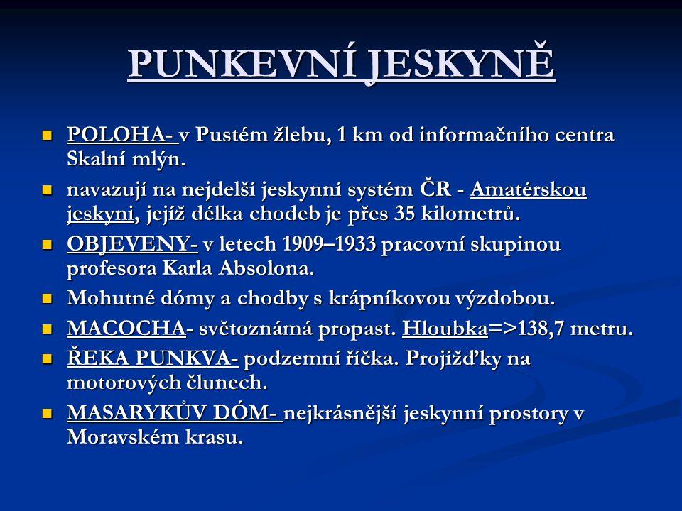 PUNKEVNÍ JESKYNĚ POLOHA- v Pustém žlebu, 1 km od informačního centra Skalní mlýn.