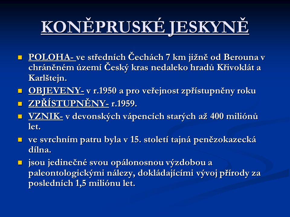 KONĚPRUSKÉ JESKYNĚ POLOHA- ve středních Čechách 7 km jižně od Berouna v chráněném území Český kras nedaleko hradů Křivoklát a Karlštejn.