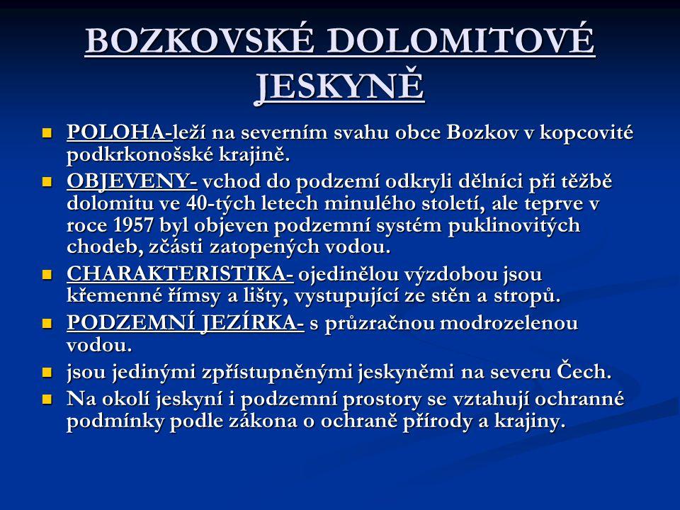 BOZKOVSKÉ DOLOMITOVÉ JESKYNĚ POLOHA-leží na severním svahu obce Bozkov v kopcovité podkrkonošské krajině.