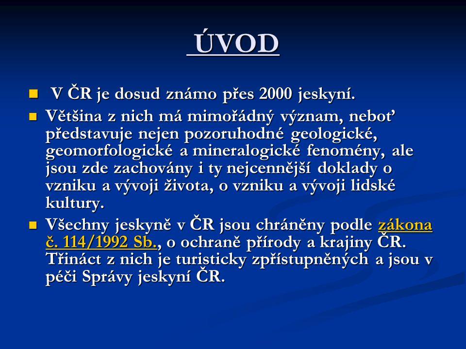 ÚVOD ÚVOD V ČR je dosud známo přes 2000 jeskyní. V ČR je dosud známo přes 2000 jeskyní.
