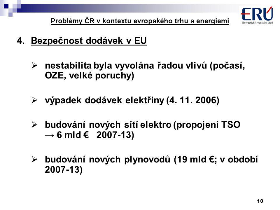 10 Problémy ČR v kontextu evropského trhu s energiemi 4.Bezpečnost dodávek v EU  nestabilita byla vyvolána řadou vlivů (počasí, OZE, velké poruchy)  výpadek dodávek elektřiny (4.