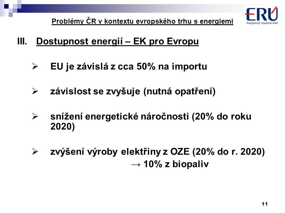 11 Problémy ČR v kontextu evropského trhu s energiemi III.Dostupnost energií – EK pro Evropu  EU je závislá z cca 50% na importu  závislost se zvyšuje (nutná opatření)  snížení energetické náročnosti (20% do roku 2020)  zvýšení výroby elektřiny z OZE (20% do r.