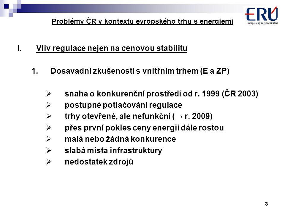 3 Problémy ČR v kontextu evropského trhu s energiemi I.Vliv regulace nejen na cenovou stabilitu 1.Dosavadní zkušenosti s vnitřním trhem (E a ZP)  snaha o konkurenční prostředí od r.