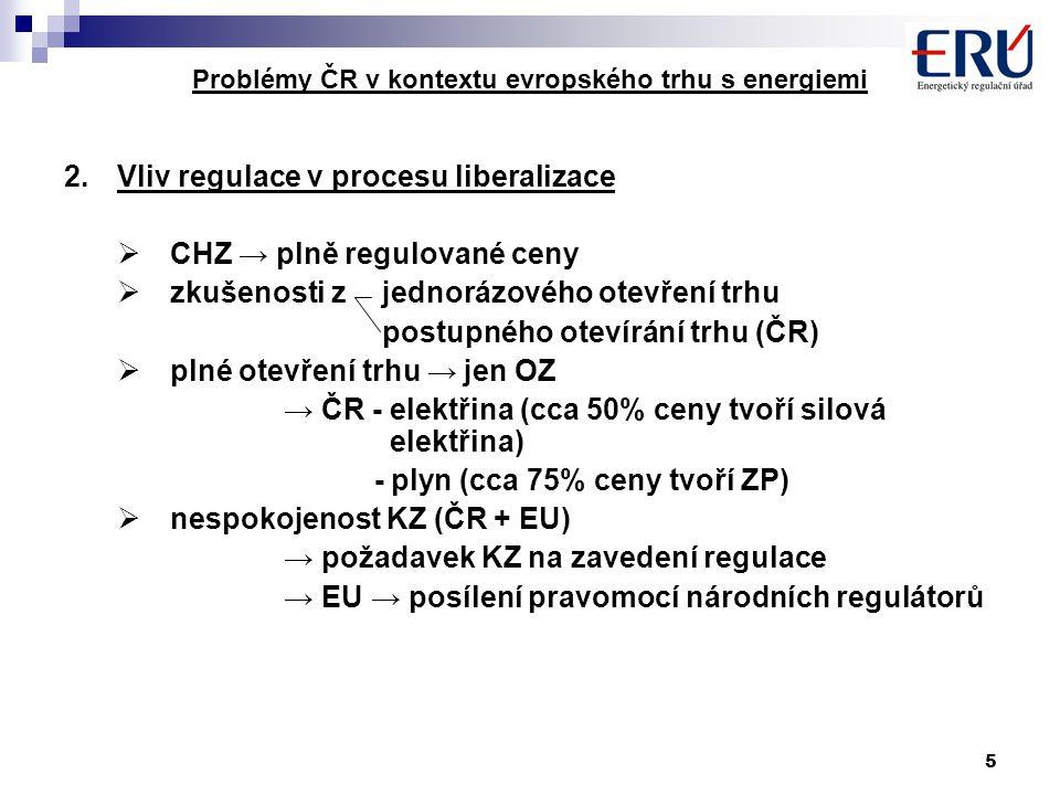 16 Problémy ČR v kontextu evropského trhu s energiemi EU ČR