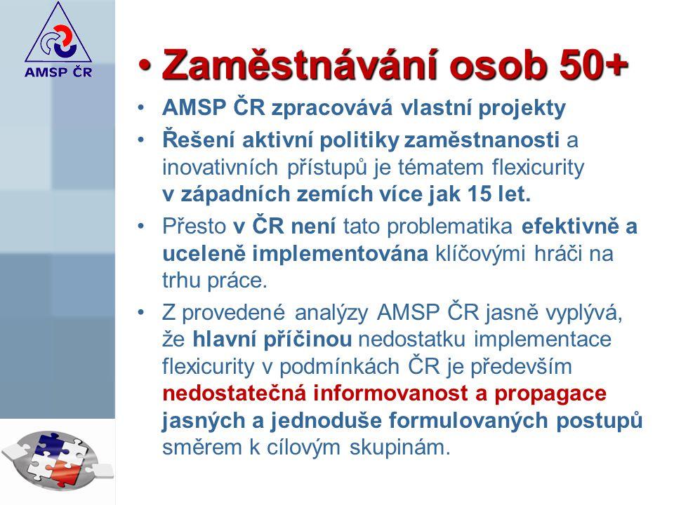Zaměstnávání osob 50+Zaměstnávání osob 50+ AMSP ČR zpracovává vlastní projekty Řešení aktivní politiky zaměstnanosti a inovativních přístupů je tématem flexicurity v západních zemích více jak 15 let.