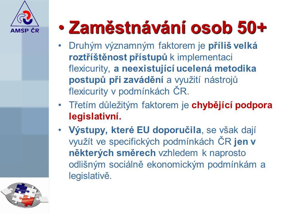 Zaměstnávání osob 50+Zaměstnávání osob 50+ Druhým významným faktorem je příliš velká roztříštěnost přístupů k implementaci flexicurity, a neexistující ucelená metodika postupů při zavádění a využití nástrojů flexicurity v podmínkách ČR.