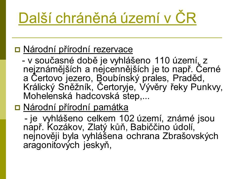 Další chráněná území v ČR  Národní přírodní rezervace - v současné době je vyhlášeno 110 území, z nejznámějších a nejcennějších je to např. Černé a Č
