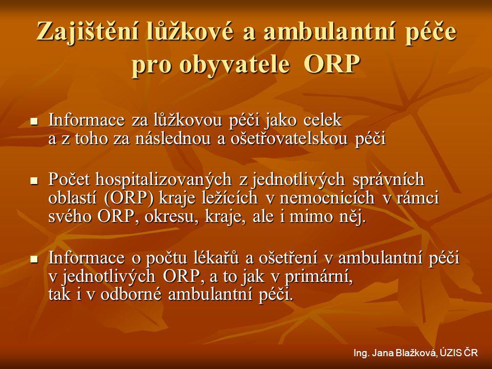 Zajištění lůžkové a ambulantní péče pro obyvatele ORP Informace za lůžkovou péči jako celek a z toho za následnou a ošetřovatelskou péči Informace za lůžkovou péči jako celek a z toho za následnou a ošetřovatelskou péči Počet hospitalizovaných z jednotlivých správních oblastí (ORP) kraje ležících v nemocnicích v rámci svého ORP, okresu, kraje, ale i mimo něj.