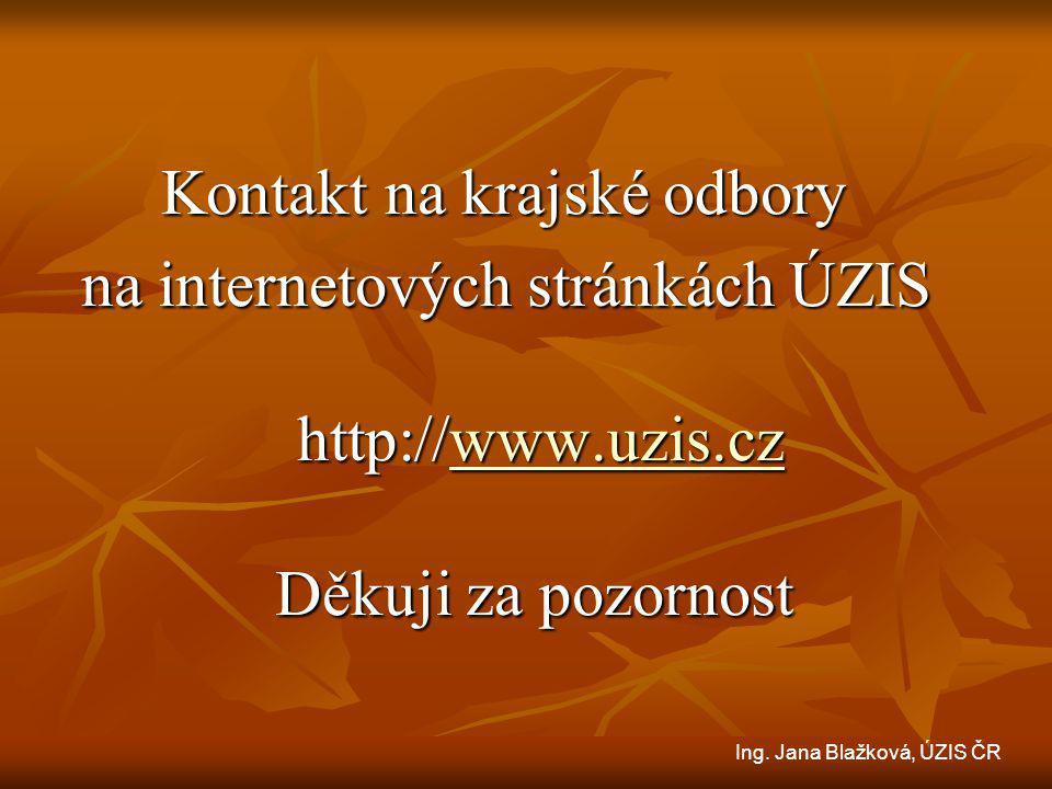 Kontakt na krajské odbory Kontakt na krajské odbory na internetových stránkách ÚZIS http://www.uzis.cz Děkuji za pozornost na internetových stránkách ÚZIS http://www.uzis.cz Děkuji za pozornostwww.uzis.cz Ing.