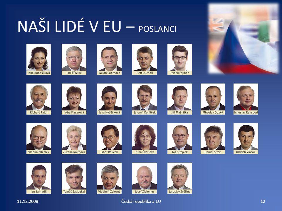 NAŠI LIDÉ V EU – POSLANCI 11.12.200812Česká republika a EU